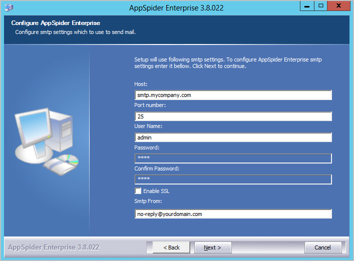 Configuring an SMTP Settings for AppSpider Enterprise